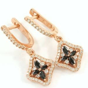Silver & Rose Gold Sapphire Earrings